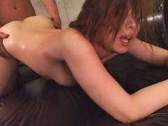 Busty Japanese woman tied up and pussy stuffed